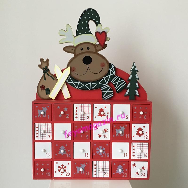 Деревянный адвент календарь «Рождественский»/feyamagazin.ru