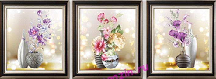 АЛМ А6140-1 Триптих Цветы в вазах  полная выкладка стразами/feyamagazin.ru