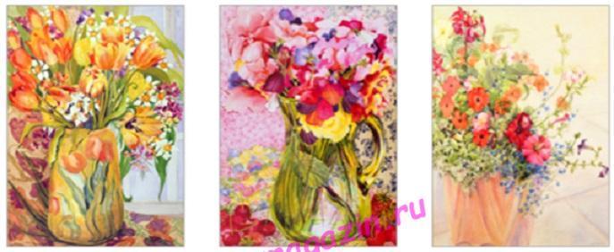 """АЛМ А6361-1 """"Триптих. Цветочная композиция в вазах"""" Полная выкладка круглыми стразами/feyamagazin.ru"""