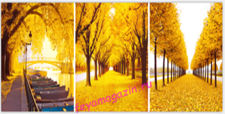 АЛМ А6158-1 Триптих Осень 114*40 полная выкладка кристаллами/feyamagazin.ru