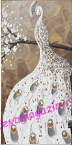 """АЛМ А6280-1 """"Белый Павлин"""" 40*60 полная выкладка + специальные стразы/feyamagazin.ru"""