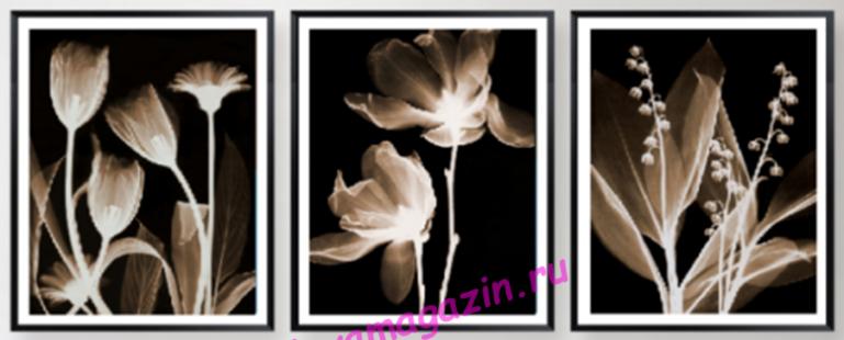 АЛМ А6193-1 Триптих Золотой рассвет 135*60 полная выкладка кристаллами/feyamagazin.ru