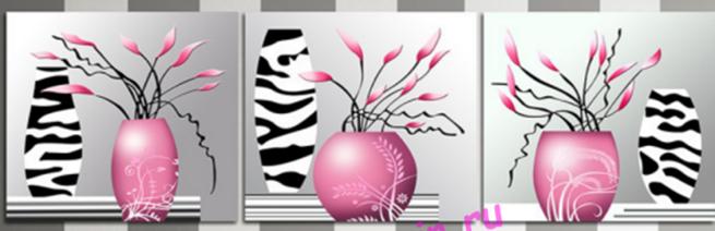 """АЛМ А6260-1 """"Триптих Изящные розовые цветы"""" 120*40 полная выкладка круглыми стразами/feyamagazin.ru"""