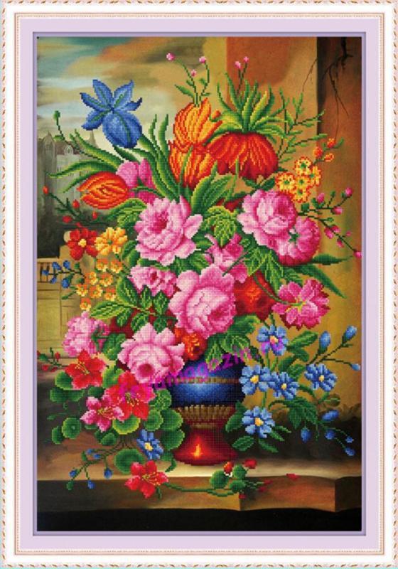 """АЛМ (5D) 1305 """"Любимые цветы"""" 59*80, круглые сверкающие кристаллы/feyamagazin.ru"""