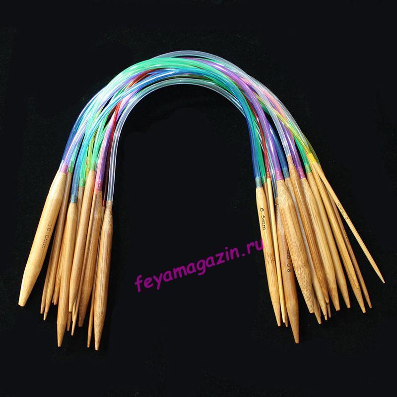 Спицы бамбуковые для вязания круговые, 40 см, набор 18 пар/feyamagazin.ru