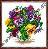 Анютины глазки в вазе (набор для вышивания крестом)