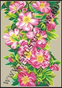 Цветущий шиповник (набор для вышивания крестом и бисером)