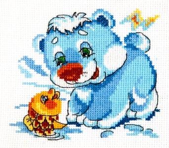 Чудесная игла 17-14 Белый медвежонок 12*11