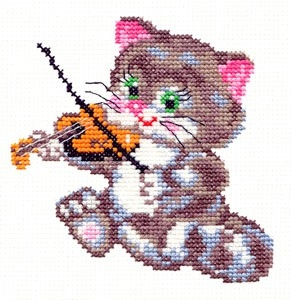 Чудесная игла 15-06 Котенок-музыкант 11*11