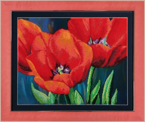 Наборы для вышивания бисером Б-715 Вечерние тюльпаны 44*35