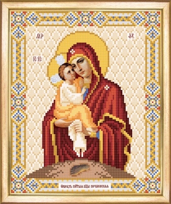 Схема для вышивания бисером Икона Божьей Матери Почаевская